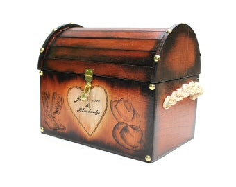 Western Cowboy Design: Wedding Card Rustic Chest Box CUSTOM