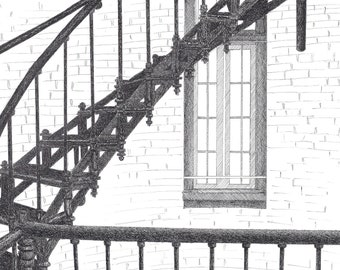 """Original Drawing or Limited Edition Print of  the """"Lighthouse Stairs in St. Augustine, FL"""""""