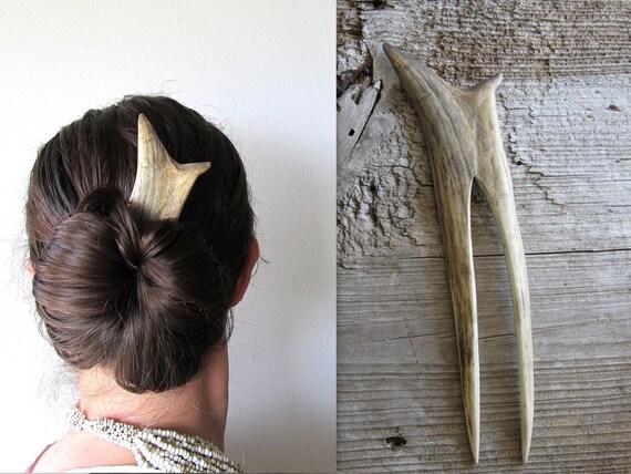 Hair Fork Comb Stick Natural Tribal Bohemian Organic Bone Gothic Fantasy Fashion Hairpiece