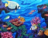 Hawaiian Exploration - a LARGE Original Acyrlic Water Sea Fish Painting by Sara Larson Art