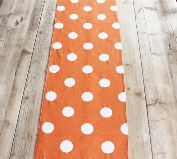 Harvest Table Runner: Orange with Polka Dots - Ready for Halloween - FREE US SHIPPING