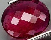 Deep Raspberry Pink Tourmaline Oval Checkerboard Cut Faceted Cabochon 9 x 8 MM 1.10 Ct Mozambique