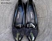 Vintage Corsina Edwardian Black Patent  Bow Front Pumps