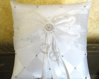Wedding Ring Bearer Pillow, White or Custom Made to your Colors,  with Swarovski Crystals and Flower
