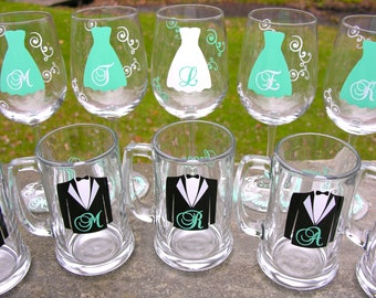 Set of 8 Bridesmaid wine glasses or Groomsmen beer mugs, 8 Mint blue glasses Mix and match for 8 total glasses. Wedding party gift wine