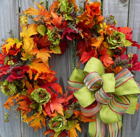 Fall Wreath Unique Fall Wreath With Fresh Green Accents