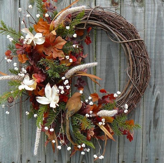 Fall Wreath - Fall / Autumn Wreath with Leaves, Pine, and Cream Accents - Beautiful Half Wreath - OOAK