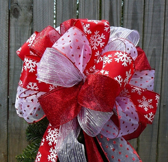 Christmas Tree Topper Tree Top Bow For Christmas Red