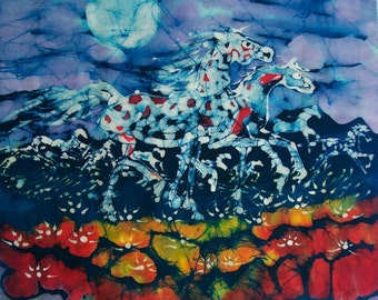 Horses Prance in the Light of the Full Summer Moon - Red White Blue  -  Original batik painting