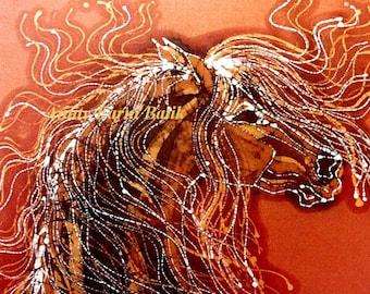 Autumn Sundance -  batik print from original   Horse- Golden