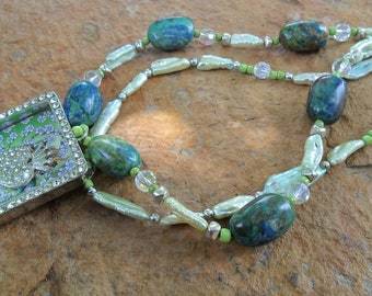 Handmade Turquoise and Stick Pearl Necklace with Shadowbox Pendant