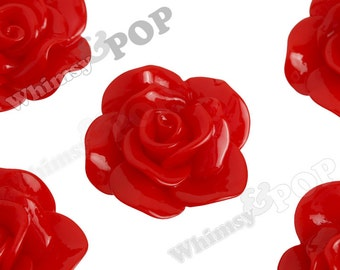 Large Cherry Red Rose Cabochons, Flower Cabochons, Flower Cabs, Rose Flatback, 30mm x 28mm (R3-058)