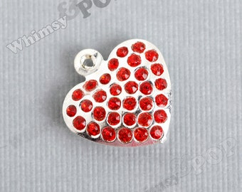 1 - Red Crystal Studded Puffy Heart Rhinestone Charm Pendant Beads (6-2A)