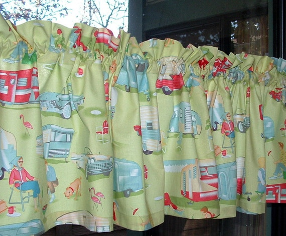 """Valance or Panel Cotton TRAILER 1940s 1950s HAPPY Campers  Print 12"""" 14"""" 18"""" 24' 32"""" Lined or Unlined"""