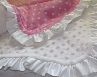 """Sale- Minky baby blanket - 32"""" X 36"""". Pink and white double minky blanket with matching ruffled satin trim. Personalization available"""