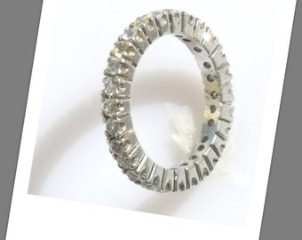 Natural white Sapphire ring Full eternity ring  Sterling Silver ring P-018-5