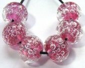 Handmade lampwork glass bead set - 6 pink lampwork bubble beads