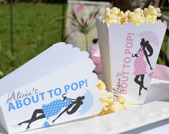 15 Personalized Baby Shower, About to Pop Popcorn Boxes for Baby Boy, Baby Girl, Girl with Umbrella