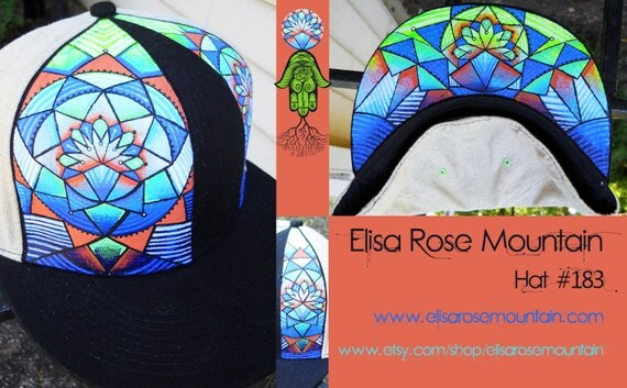 Hand painted Hemp Flat Brim with Geometric Mandala Design