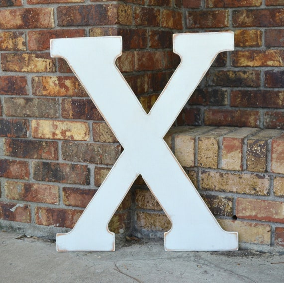 "24"" Wooden Letter X, Classic Font in Distressed White - all letters available in many colors"