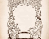 Digital Art Nouveau Vintage Frame  - LARGE 29 x 22cm instant download