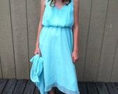 Beautiful Mint  Chiffon Tea Dress with coverup