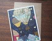 Greeting Card - travel adventure Hot Air Balloon Night Sky rooftops stars map - by Paper Taxi