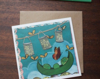 Greeting Card New Baby - Butterflies Pea pod Cut Paper  - A Butterfly Welcome by Paper Taxi