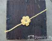 Whimsical Crochet Yellow Flower Headband with pearl center.  Ready to Ship