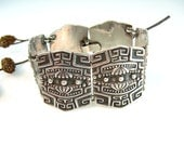 RESERVED FOR W // Vintage Taxco Silver Bracelet Panel Pre-Columbian Stylized Motifs Eagle Mark 1950s Sterling Jewelry