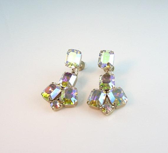 Weiss Aurora Borealis Rhinestone Earrings Dangle Screw Backs Light Changing 1960s