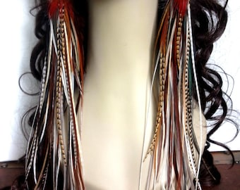 Handmade Thick Long Feather Earrings - Fiery Brown Goddess Feather Jewelry Extra Long Spring Fashion Accessory