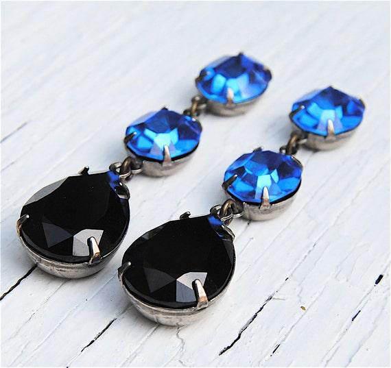 Sapphire Blue Earrings Swarovski Crystal Jet Black Cobalt Blue Rhinestone Earrings Petite Fiesta Mashugana