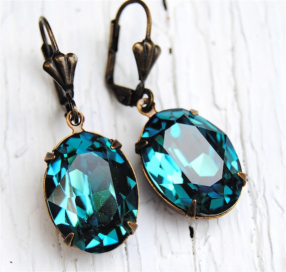 Aqua Teal Blue Peacock Earrings Swarovski Crystal Earrings Oval Rhinestone Dangle Earrings Duchess Oval Mashugana