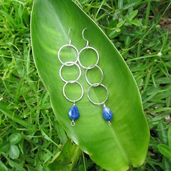 Blue Lapis Sterling Silver Hoop Earrings, Long Dangle Hoops, Triple Hoop Earrings, Sterling Silver Jewelry, Hawaii