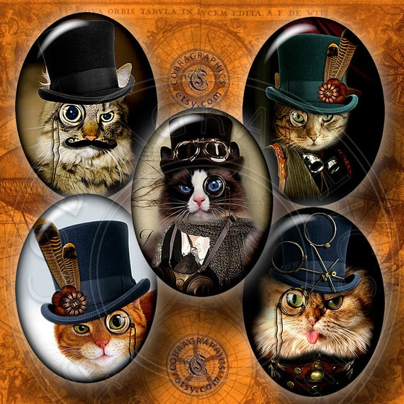 Steampunk Cat Digital Collage Sheet CG-556O By CobraGraphics