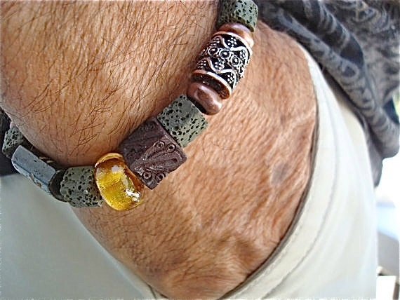 Men's Bracelet with Beads of Green Lava, Carved Wood, Bone, Ceramic, Amber Lampwork and Copper