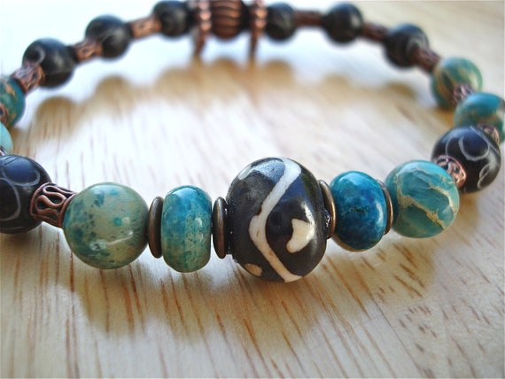 Men's Bracelet with Semi Precious Stones - Carved Quartzite, Imperial Jasper, Hand Painted Bone, Turquoise imperial Jasper, Antique Copper