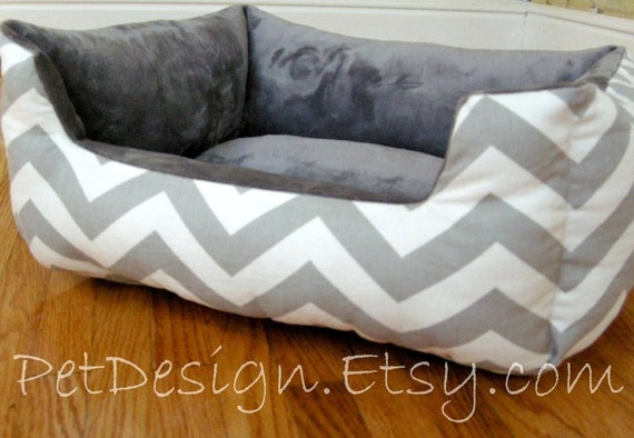 """READY - to - SHIP -- One-Piece 19"""" X 15""""  - Dog Bed - Cat Bed - Gray & White with Grey Minky Center"""