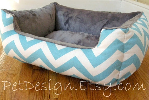 """One-Piece 19"""" X 15""""  - Dog Bed - Cat Bed - Turquoise & White Chevron with Gray Minky Fleece"""