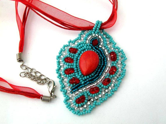 Beaded jewelry, Bead Embroidered Pendant, Beadwork, Bead embroidery, Seed bead necklace,  turquoise and red necklace