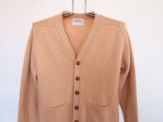 Wool camel Hair Cardigan Sweater Mens Womens Medium