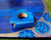 Ouija Board Altar Table Pagan Wiccan Divination Spirit Game Blue Gold With Planchette Wooden Wood Hand Painted