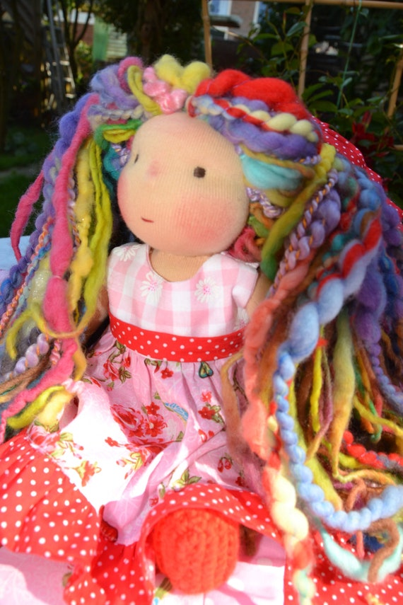 Jasmine - Handmade  Waldorf inspired Doll OOAK &  Hand Spun Art Yarn Hair - Reserved listing for CheeryKiriDesigns - final payment