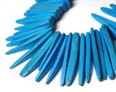 Blue Spike Beads Coconut Stick beads Coco Tusks 25 Pieces 23mm