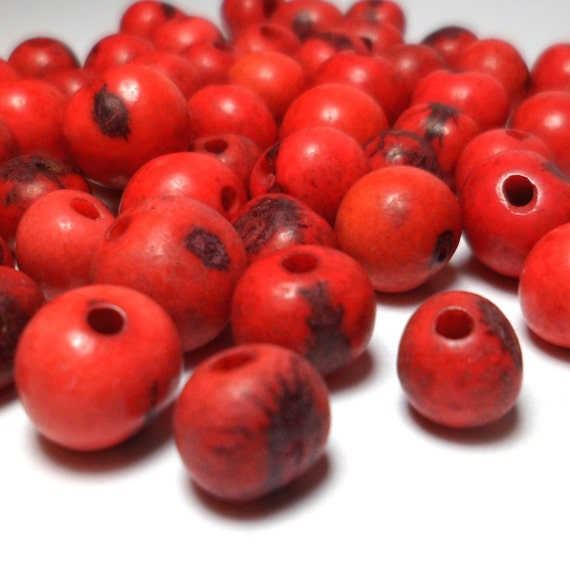 Acai Beads - Natural Seed Beads Red and Black 30 Pieces
