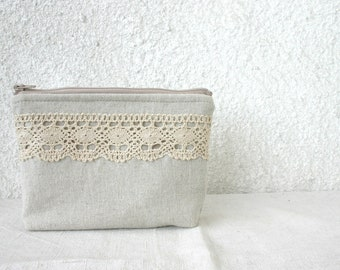 Linen and lace cosmetic bag zipper pouch make-up pouch small clutch