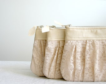 3 Bridesmaid lace clutch Ruched bags Pleated lace Pearl effect leather Choose your colour Romantic wedding