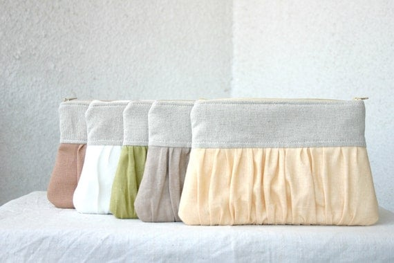 SET of 5 Bridesmaids spring wedding clutch pleated linen Ruched clutch choose your colour