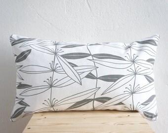 "Handprinted Pillow Organic Cotton Grey Cushion 20 x 12"""